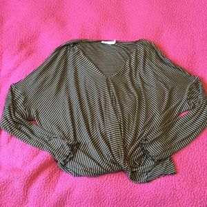 Olive Striped Long Sleeve Top